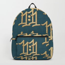 Lucky 11:11 angels symbol in gold and money green Backpack
