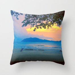 Strolling Surfer Throw Pillow