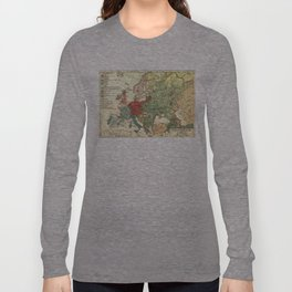 Vintage Linguistic Map of Europe (1907) Long Sleeve T-shirt