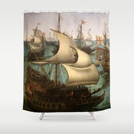 "Hendrick Cornelisz Vroom ""The meeting of Frederic V and Elizabeth Stuart on the sea"" Shower Curtain"