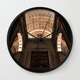 View from below of the main entrance of the Cathedral of Sant'Alessandro, the Cathedral of Bergamo A Wall Clock