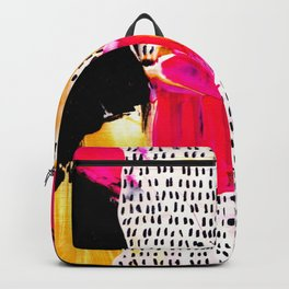 Abstract funky colors with black strokes Backpack