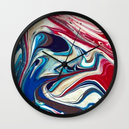 Red and Blue Abstract Painting Wall Clock