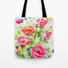 Watercolor pink and red poppies Tote Bag