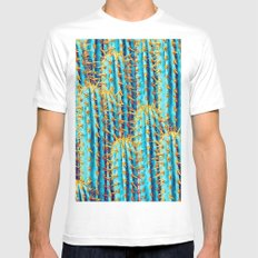 Neon Gold Cactus White MEDIUM Mens Fitted Tee
