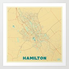 Hamilton Map Retro Art Print