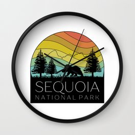 Copy of Sequoia National Park California Forest Kern River Retro Camping Redwoods Wall Clock
