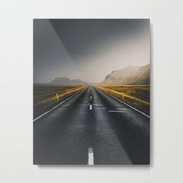 An Empty road in Iceland landscape Metal Print