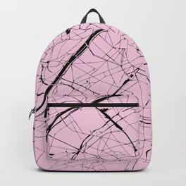 Paris France Minimal Street Map - Pretty Pink on Black Backpack
