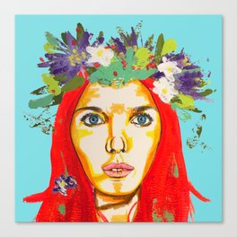 Red haired girl with flowers in her hair Canvas Print