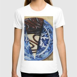 Brownie Cheesecake on Blue Willow Plate T-shirt