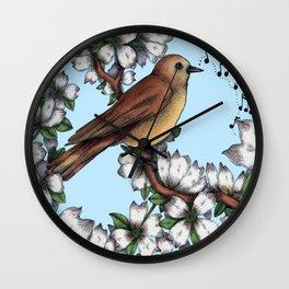 Brown Bird in White Dogwood Tree Wall Clock