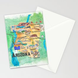 USA Arizona State Travel Poster Illustrated Art Map Stationery Cards