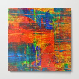 Abstract Tartan Design Painting - Acrylic Paint on Canvas Metal Print