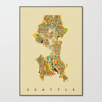 seattle Canvas Prints featuring Seattle by Nicksman