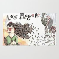 los angeles Area & Throw Rugs featuring Los Angeles by Brooke Weeber
