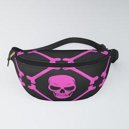 Skulls and bones hot pink on black Fanny Pack