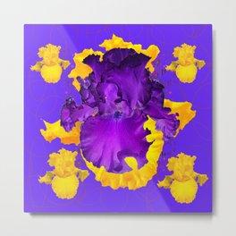 Decorative Modern Purple Iris Color Golden Pattern  Art #2 Metal Print