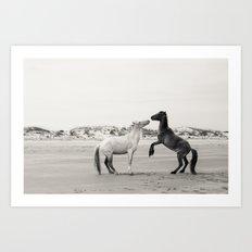 Wild Horses 4 - Black and White Art Print