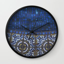 Blue Tile Wall Clock