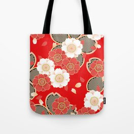 Japanese Vintage Red Black White Floral Kimono Pattern Tote Bag