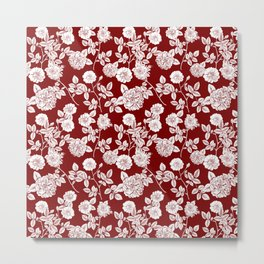 Red and White Vintage Florals Collage Metal Print