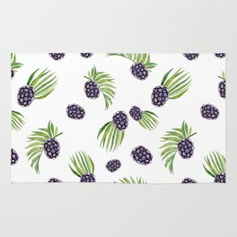 Hand painted black green watercolor fruity blackberries Rug