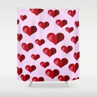 hearts Shower Curtains featuring Hearts by Marjolein