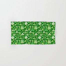 Lucky Green Watercolour Shamrock Pattern Hand & Bath Towel