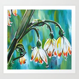 Drips on droopy flowers Art Print