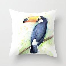 Toucan Tropical Bird Watercolor Throw Pillow