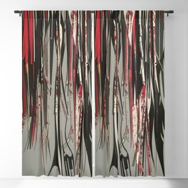 The Vines- Black, White and Red Abstract Collage  Blackout Curtain