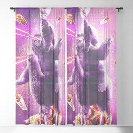 Laser Eyes Space Cat Riding Sloth, Llama - Rainbow Sheer Curtain