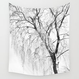 White snow tree Wall Tapestry