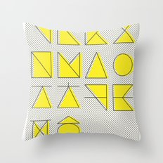 'ㄱ,ㄴ,ㄷ,ㄹ' (Korean Alphabet-Yellow) Throw Pillow