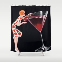 Woman and Giant Glass of Red Wine Vintage Art Shower Curtain