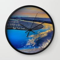 waldo Wall Clocks featuring Depth Of Life Quote Ralph Waldo Emerson by JuliaApostolova