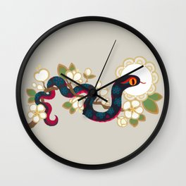 Snake and flowers 2 Wall Clock