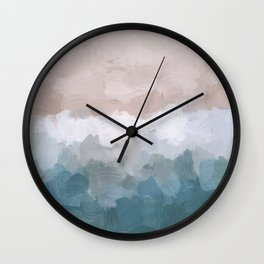 Turquoise Aqua Blue White Dusty Rose Pink Abstract Painting, Modern Wall Art Print, Ocean Sunset Sand Beach Aerial View Wall Clock