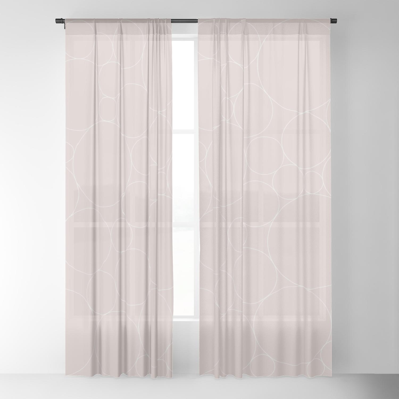 Circular Collage Neutral Blush Sheer Curtain By Midcenturymodern