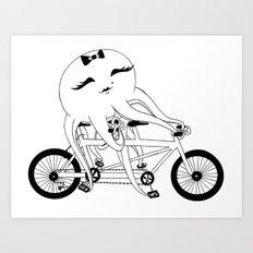 Octopus on a Tandem Bike (in B&W) Art Print