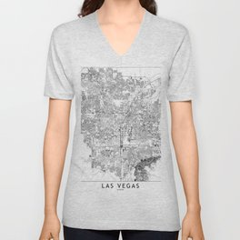 Las Vegas White Map Unisex V-Neck