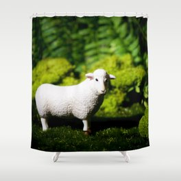 A white sheep in the forest Shower Curtain