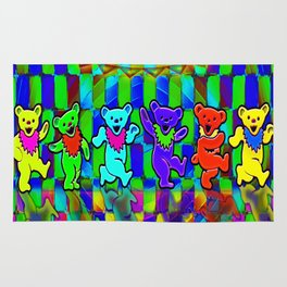 Grateful Dead Dancing Bears Colorful Psychedelic Characters #2 Rug