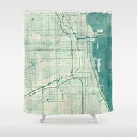 vintage map Shower Curtains featuring Chicago Map Blue Vintage by City Art Posters