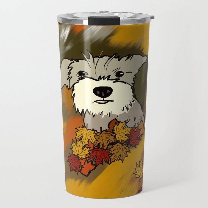 Schnauzer In Fall Leaves Travel Mug