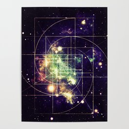Galaxy Sacred Geometry: Golden mean Poster
