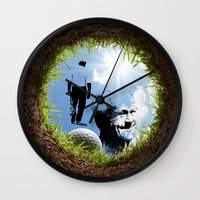 arnold Wall Clocks featuring Hole in one Arnold! by Ryan Anderson