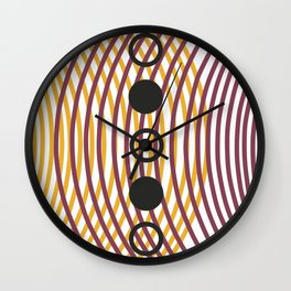 Purple and yellow cosmic convergence Wall Clock