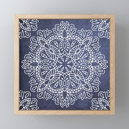 Mandala Vintage White on Ocean Fog Gray Framed Mini Art Print